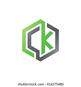 CK initial letters loop linked hexagon logo black gray green