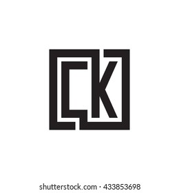 CK initial letters looping linked square monogram logo
