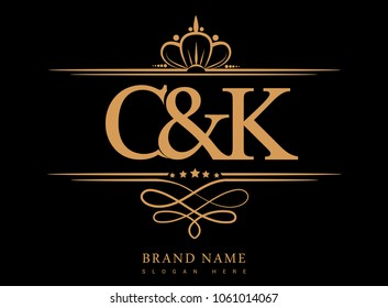 C&K Initial logo, Ampersand initial logo gold with crown and classic pattern