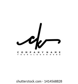 CK initial signature logo. handwriting logo template vector,