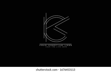 CK KC abstract vector logo monogram template