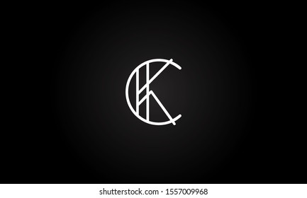 CK or KC initial based letter icon logo Unique modern creative elegant geometric fashion brands black and white color