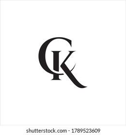 CK or KC letter logo design.