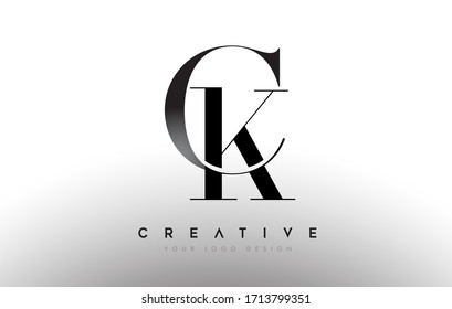 CK ck letter design logo logotype icon concept with serif font and classic elegant style look vector illustration.