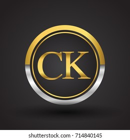 CK Letter logo in a circle, gold and silver colored. Vector design template elements for your business or company identity.
