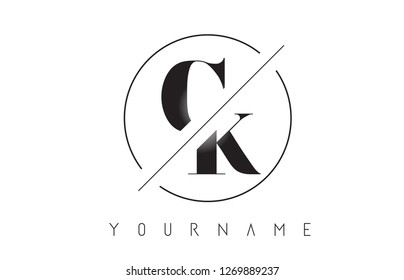 CK Letter Logo with Cutted and Intersected Design and Round Frame Vector Illustration