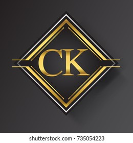 CK Letter logo in a square shape gold and silver colored geometric ornaments. Vector design template elements for your business or company identity.