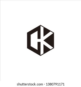 CK Logo Initial Monogram Negative Space Designs Modern Templete with Black color and White Background
