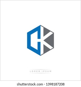 CK Logo Initial Monogram Negative Space Design Template With Blue and Grey color