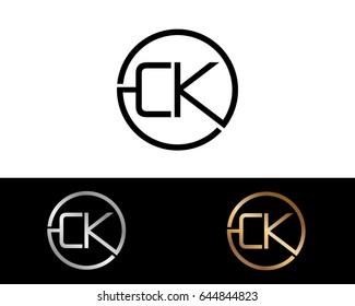 Ck Logo. Letter Design Vector with Red and Black Gold Silver Colors