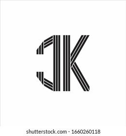 CK Logo monogram outline style linked isolated on white background