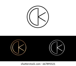 CK round circle shape initial letter logo