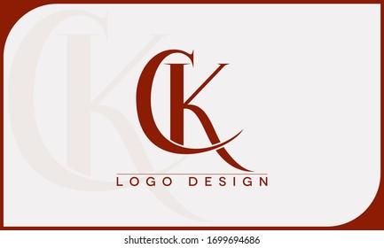 CK,KC ,C ,K Letter Logo Design Template Vector