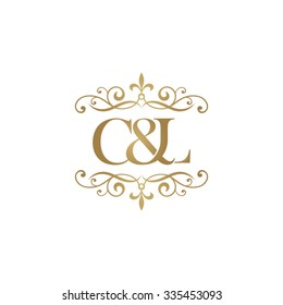 C&L Initial logo. Ornament ampersand monogram golden logo