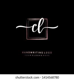 CL initial signature logo. handwriting logo template vector,