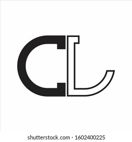 CL Letter logo monogram with oval shape negative space design template white background