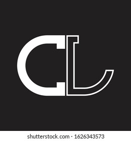 CL Letter logo monogram with oval shape negative space design template