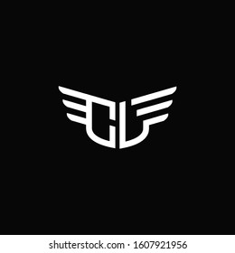 CL logo monogram emblem shape with wings style ribbon design template