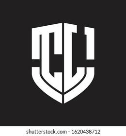 CL Logo monogram with emblem shield shape design isolated on black background