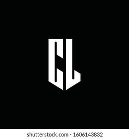 CL logo monogram with emblem style isolated on black background