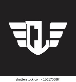 CL Logo monogram with emblem and wings element design template
