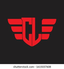 CL Logo monogram with emblem and wings element design template on red colors