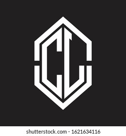 CL Logo monogram with hexagon shape and outline slice style with black and white