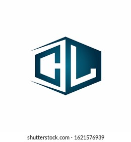 CL monogram logo with hexagon shape and negative space style ribbon design template