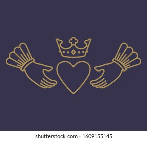 Claddagh ring love symbol heart and crown in hands