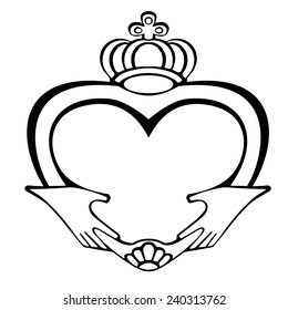 Claddagh symbol on a white background .symbol of love, heart, loyalty, and friendship