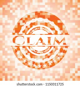 Claim abstract emblem, orange mosaic background