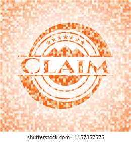Claim abstract orange mosaic emblem with background