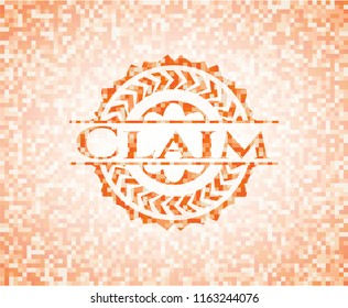 Claim abstract orange mosaic emblem