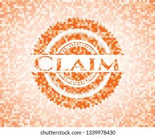 Claim abstract orange mosaic emblem
