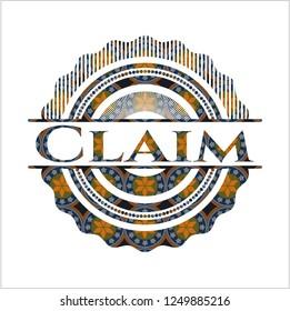 Claim arabic badge. Arabesque decoration.