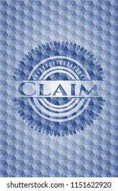 Claim blue emblem or badge with geometric pattern background.