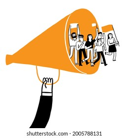 Claim business concept. A protester walks through a megaphone. Vector Illustration Hand drawing doodle style