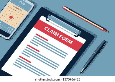 Claim Concept with Clipboard, Modern Smartphone, Ball Pen and Glasses. Flat Lay, Top View. Vector Halftone Isometric Illustration.
