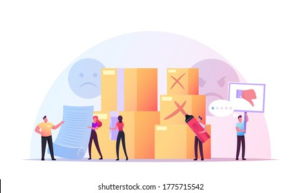 Claim Customer Concept. Tiny Male and Female Characters at Huge Carton Boxes. Clients Unsatisfied with Service or Goods Quality Writing Complaint and Bad Feedback. Cartoon People Vector Illustration