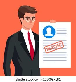 Claim form. Sad man and rejected application form flat illustration concept. Modern flat design concepts for web banners, websites, printed materials, infographics. Creative vector illustration