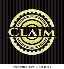 Claim golden badge. Vector Illustration. Detailed.