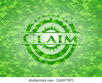 Claim green emblem with triangle mosaic background