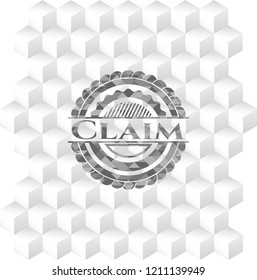 Claim grey badge with geometric cube white background