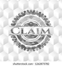 Claim grey badge with geometric cube white background