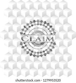 Claim grey emblem with cube white background