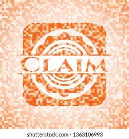 Claim orange mosaic emblem with background