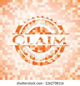 Claim orange tile background illustration. Square geometric mosaic seamless pattern with emblem inside.