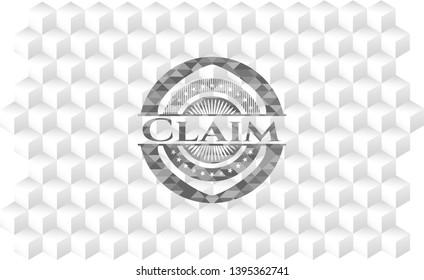Claim realistic grey emblem with cube white background