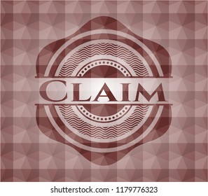 Claim red badge with geometric background. Seamless.