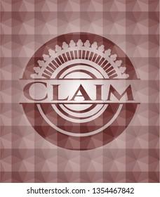 Claim red emblem with geometric background. Seamless.